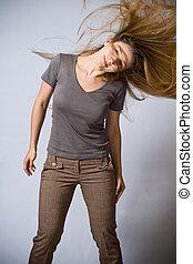 cheveux, femme, en mouvement, danse