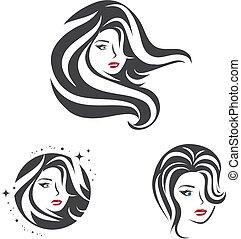 cheveux, femme, ensemble, beauté, figure