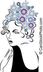cheveux, femme, fleur