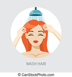 cheveux, femme, lavage, elle, shampoing, douche