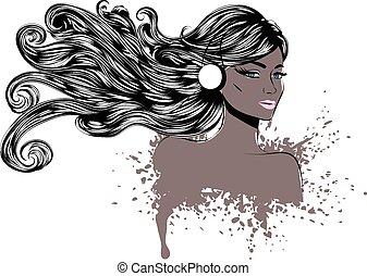 cheveux, femme, long