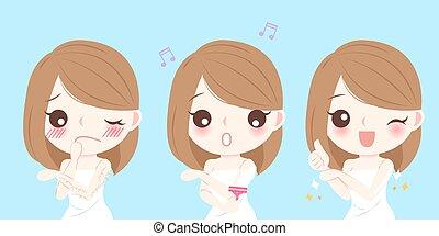 cheveux, femme, main