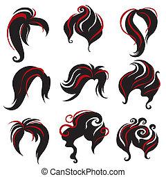 cheveux, femme, noir, styling