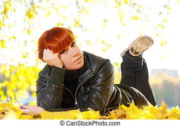cheveux, femme, parc, repos, automne, rouges