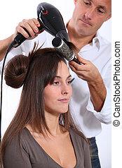cheveux, femme, sécher, coiffeur