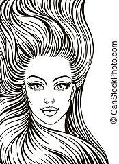 cheveux, femme, silhouette, long