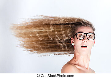 cheveux, femme, vent, long, soufflé