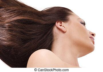 cheveux, femme, vent