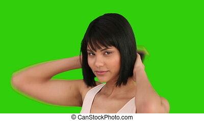 cheveux, fixation, femme, asiatique, elle