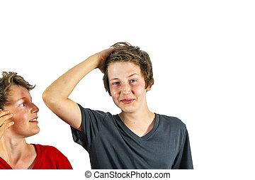 cheveux, garçon, déchirure, ceux, heureux