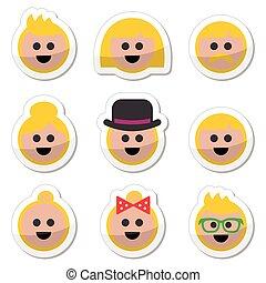 cheveux, gens, blonds, vecteur, icônes