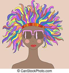 cheveux, girl, coloré