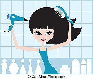 cheveux, girl, dries, joli