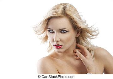 cheveux, girl, elle, blonds, droit, regarde, voler