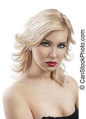cheveux, girl, elle, blonds, voler, half-lenght