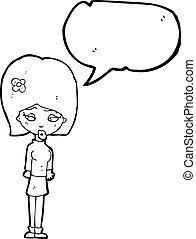cheveux, girl, fleur, dessin animé