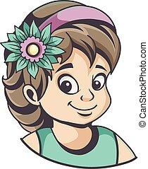 cheveux, girl, fleur