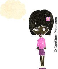 cheveux, girl, fleur, retro, dessin animé