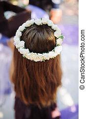 cheveux, girl, fleurs, elle