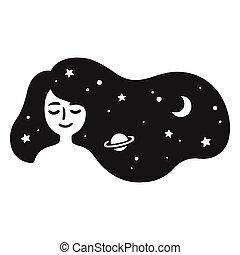 cheveux, girl, galaxie