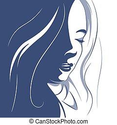 cheveux, girl, illustration, bouclé