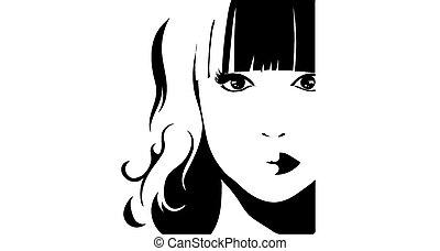 cheveux, girl, linéaire, illustration