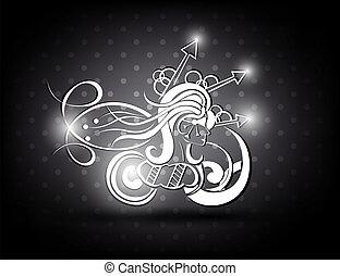 cheveux, girl, long, figure