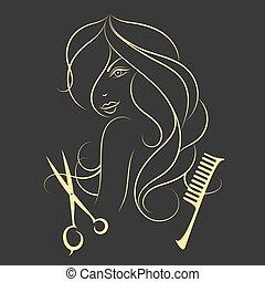 cheveux, girl, long