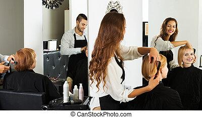 cheveux, girl, salon, coupures
