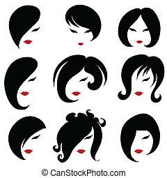 cheveux, grand, ensemble, noir, styling