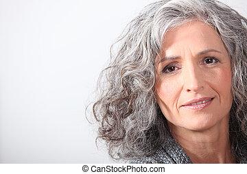 cheveux, gris, portrait femme