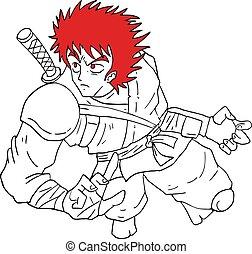 cheveux, guerrier, attaque, rouges