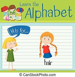 cheveux, h, lettre, flashcard
