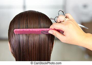cheveux, haircut., femme, salon., cutting.