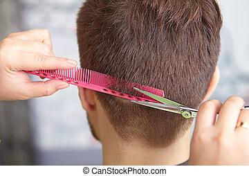 cheveux, haircut., homme, cutting., salon.