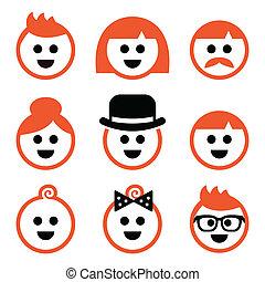 cheveux, icône, vecteur, gingembre, gens