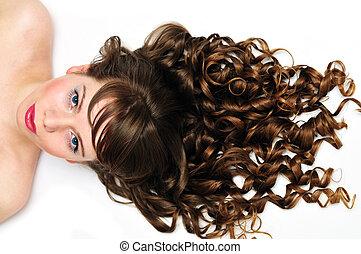 cheveux, impressionnant, bouclé