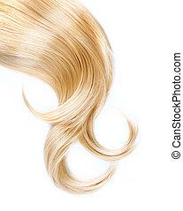 cheveux, isolé, blonds, sain, blanc