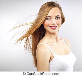 cheveux, joli, long, girl