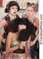 cheveux, large, salon, dame, observé