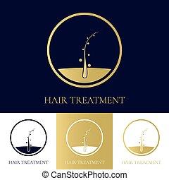 cheveux, logo, conception, traitement