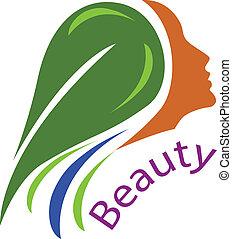 cheveux, logo, femme, vecteur, face-healthy