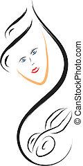 cheveux, logo, salon
