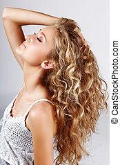 cheveux, long, bouclé
