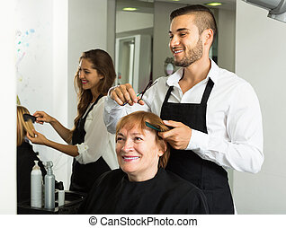 cheveux, mûr femme, coupures