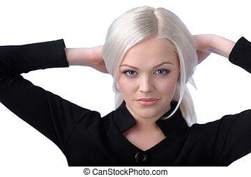 cheveux, mignon, blond, tenue, elle