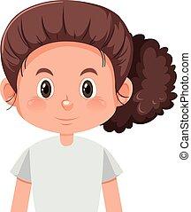 cheveux, mignon, girl, brun