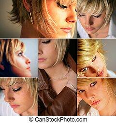 cheveux, modèles, femme