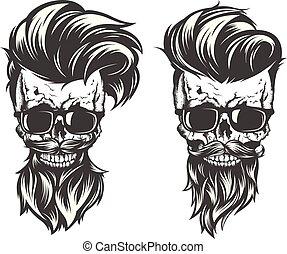 cheveux, moustache, crâne, barbe