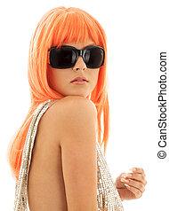 cheveux, orange, girl, nuances